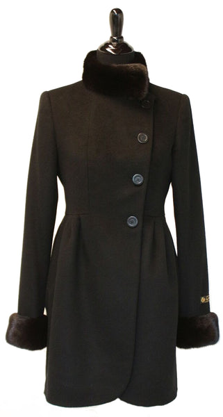 "34"" Black Cashmere Fitted Jacket, Rounded Fronts, Black Mink Stand Collar and Cuffs Trim. Pleated Design at Front Panels, Buttons and Button Holes for Closure #2079"