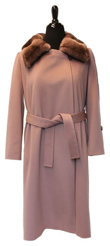 "46"" Mauve Pink Loro Piana Cashmere Coat, Notch Collar, Dyed Rex Rabbit Top Lapel # 2080"