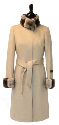 "40"" Beige Cashmere Coat, Rex Trim Stand Collar and Cuffs.  Snap Closure, Belted  #2085"