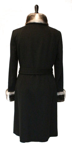 "42"" Black Cashmere Coat, Rex Chinchilla Collar and Cuff Trim with Belt #2084"