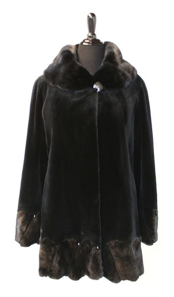 "32"" Black Sheared Mink 3/4 Jacket, Long Hair Portrait Collar, Hem and Sleeve Border with Black Teardrop Rhinestones"