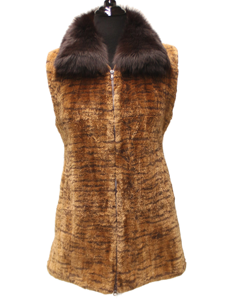 "31"" Beige Brown Print Shear Beaver Fox Collar Print Zipper Front 212"