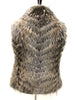 "New 23"" Racoon Fur Spring Vest Moss GreenBlueGrey Under Tones Cheveron 2232"