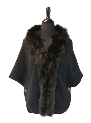 "24"" Black Knitted Wool Sweater Cape,  Dyed Black Fox Trim at Fronts and Neckline #2237"