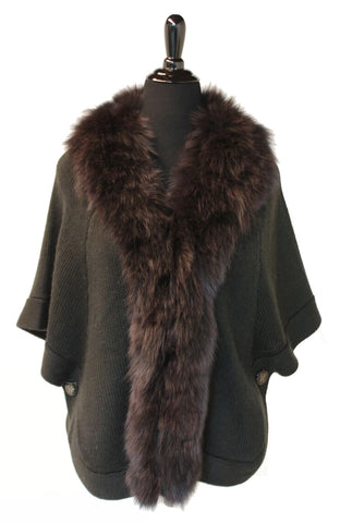 "24"" Brown Knitted Wool Sweater Cape,  Dyed Black Fox Trim at Fronts and Neckline #2238"