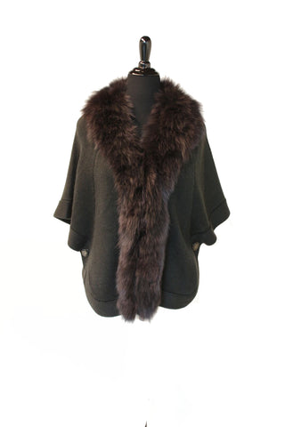 "24"" Brown Knitted Wool Sweater Cape,  Dyed Black Fox Trim at Fronts and Neckline #2240"