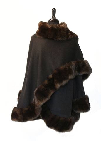 "32"" Black Cashmere Cape with Sleeves, Real Natural Sable Trim All Around #2332"