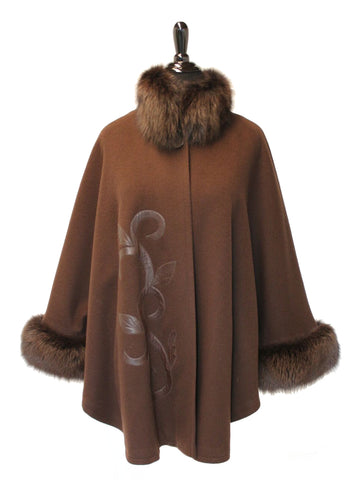 "33"" Brown Loro Piana Cashmere Cape, Fox Stand Collar and Trim at Armholes, Leather Detailed Pattern at Right Front #2143"