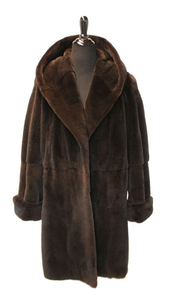 "New 39"" Plucked Sienna Mink Hooded Stroller, Double Fur Turnback Cuffs 262"