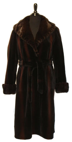 "42"" Black / Burgundy Sheared Mink Coat, Long Hair Mink Shawl Collar with Ruffled Edges.  Double Fur Turn Back Cuffs, with Belt # 267"