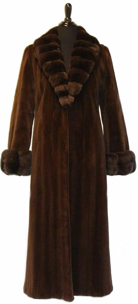 "53"" Brown Sheared Mink Coat, Dyed Brown Chinchilla Shawl Collar and Cuff Trim # 283"