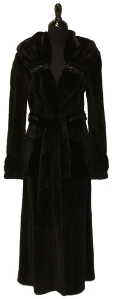 "54"" Black Sheared Mink Princess Fitted Coat, Gathered Shawl Collar with Floral and Bead Pattern at Collar, Sleeve Edge and Belt, Patch Pockets, Back Vent #285"