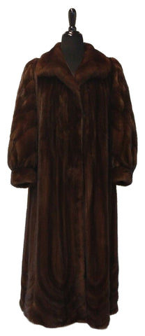 "51"" Mahogany (Female) Mink Coat, Wing Collar, bracelet Cuffs, Directional Bottom #324"