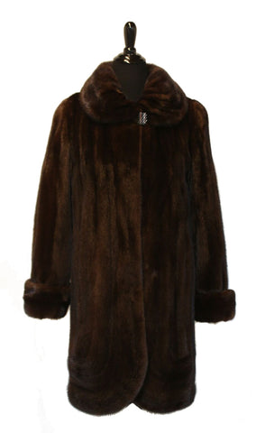 "37"" Natural Mahogany Mink Short Coat, Portrait Collar, Scalloped Bottom #34"