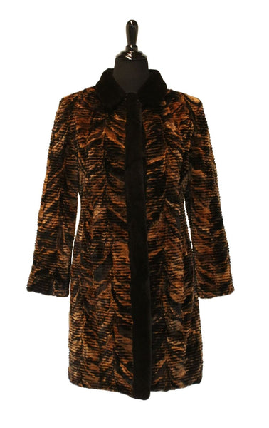 "36"" Rust Brown Sheared and Horizontally Grooved Mink Sections, Solid Black Sheared Mink Collar and Tuxedo Trim 359"