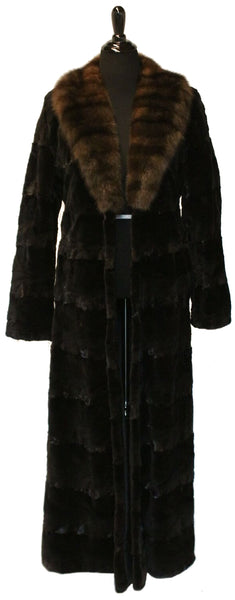 "54"" Black Sheared Mink Sculptured Coat, Sable Horizontal Shawl Collar  #387"