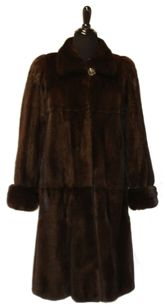 "42"" Mahogany Mink (Skin on Skin) Coat, Wing Collar, Double Fur Cuffs #573"