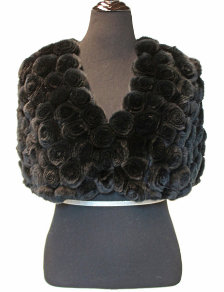 15'' Black Rex Rabbit Fur Rosettes Pattern Collarless Cape One Size 422