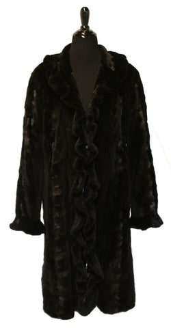 "42"" Dark Brown Sheared Sculptured Mink Coat, Ruffled Tuxedo Fronts and Ruffled Cuffs #45"