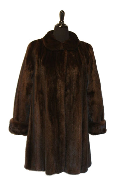 "39"" Natural Female Mahogany Mink Short Coat, Round Collar, Double Fur Turn Back Cuffs. Semi Fitted with Flared Bottom"