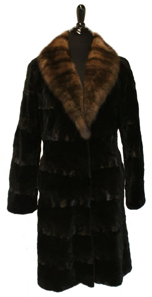 "41"" Black Sheared Mink Sculptured Coat, Sable Horizontal Shawl Collar  #541"
