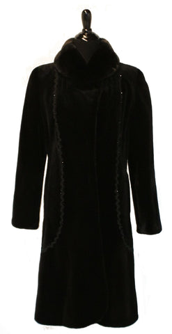 "41"" Black Sheared Mink Coat with Long hair Notch Collar, Rhinestone and Braided Silk Trim at Fronts and Back # 543"