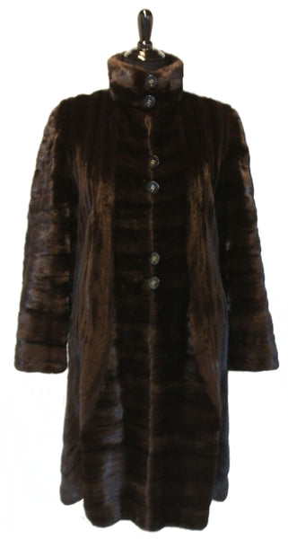 "40"" (Female) Short Nap Ranch Mink Coat, Stand Collar, Directional Pattern #568"