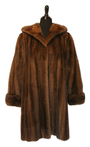 "38"" Demi Buff (Female) Hooded Mink Stroller, Double Fur Turn Back Cuffs"