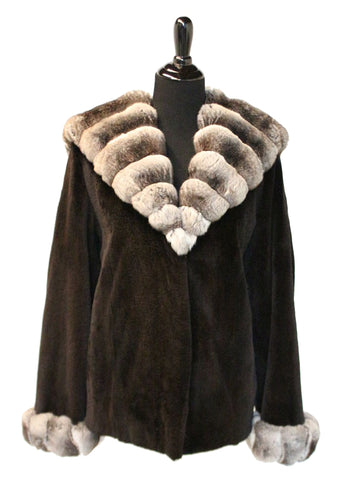 "26"" Dyed Black Sheared Mink Jacket with Natural Chinchilla Lined Hood and Cuff Trim  #69"