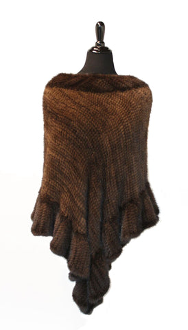 "38"" Mahogany Mink Poncho, Ruffled Trim Triangular Shaped Bottom #722"