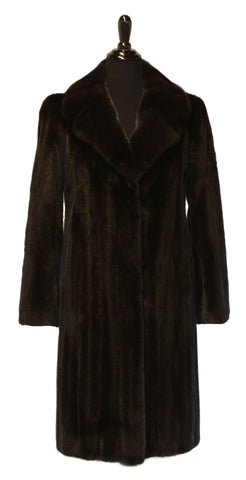 "40"" Blackglamma Ranch Mink Coat, Notch Collar, Straight Sleeves #73"
