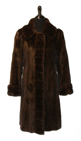 "39"" Ladies Mahogany Mink Coat, Notch Collar, Double Fur Turn Back Cuffs, Cross Cut Tuxedo Trim, Fitted Body Style"