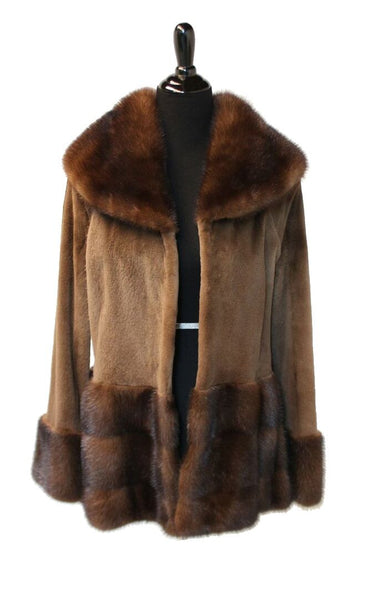 "New 29"" Sheared Mink body and longhair mink collar, cuffs and bottom 757"