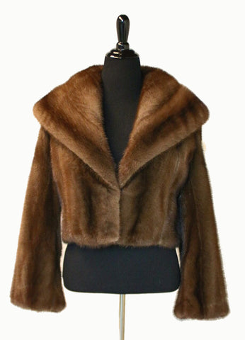 "18"" Natural Brown Demi Buff Mink Short Jacket, Shawl Collar, Straight Sleeves # 860"