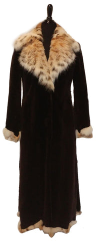 "51"" Dyed Dark Brown Sheared Beaver Coat with Natural Lynx Notch Collar and Trimming #87"