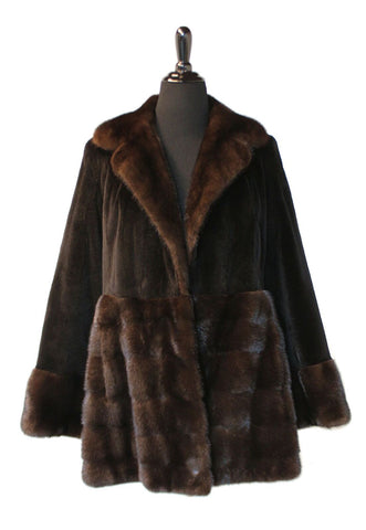 "32"" Dark Brown Sheared Mahogany Mink Stroller, Long Hair Collar, Sleeves and Hem Border 94"