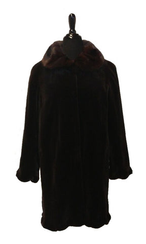 "32"" Dyed Dark Brown Sheared  Mink Stroller, Long Hair Portrait Collar, Straight Sleeves with Sheared Mink Ruffled Trim at Hem and Sleeve Edges #98"