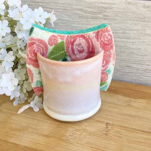 Soft Pink & White Pottery Kitchen Sponge Holder