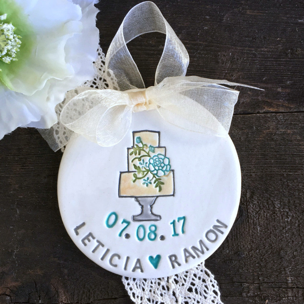 Personalized Wedding Ornament w/Three-Tiered Cake - Say Your Piece!