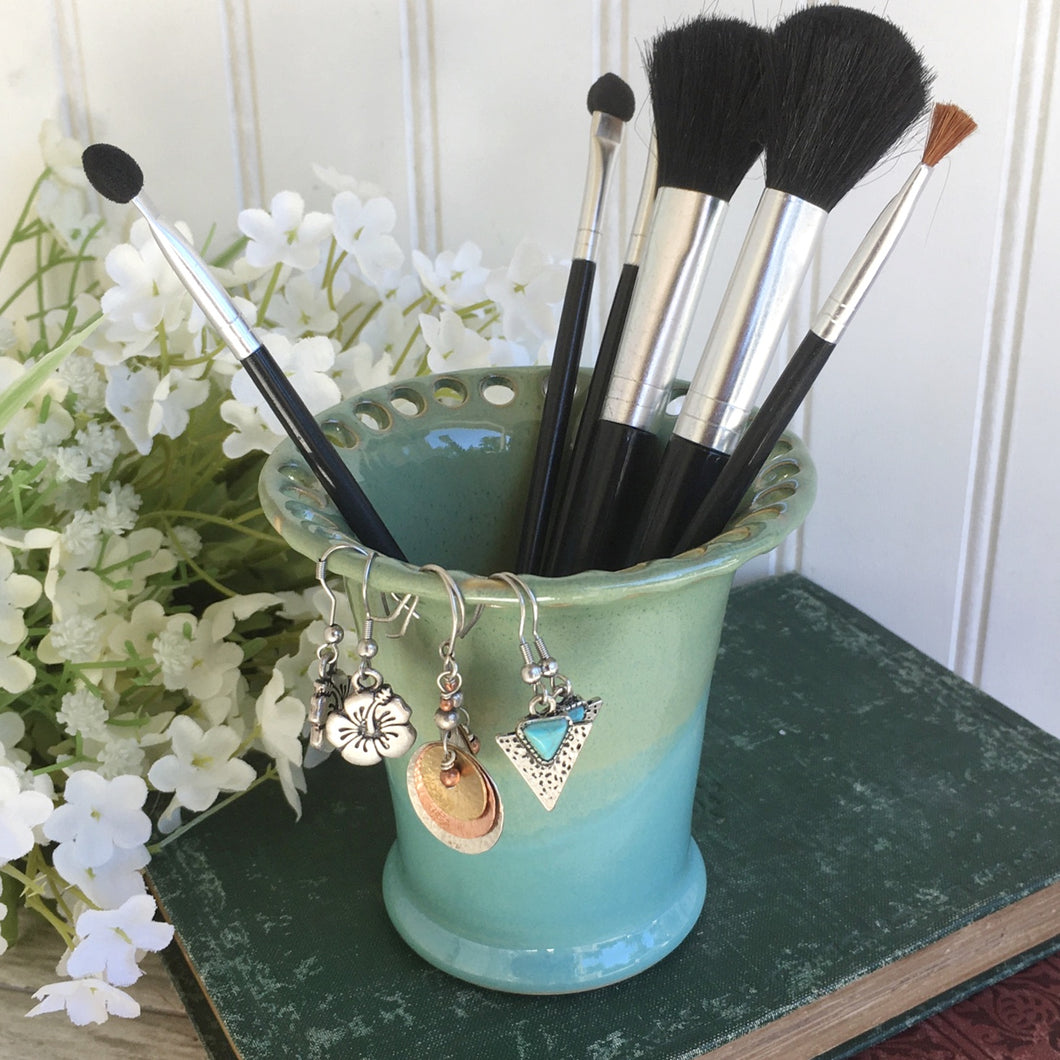 Turquoise and Green Stoneware Earring Organizer & Make Up Brush Holder