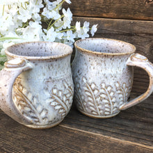 Hand Carved Stoneware Mug Set - Rustic Farmhouse Decor