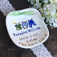 New Baby Boy Personalized Birth Plate - Little Boy Laundry Line - Say Your Piece!