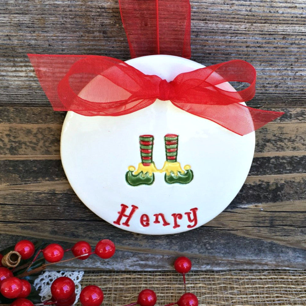 Elf Shoes Personalized Christmas Ornament by Say Your Piece!