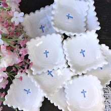Scalloped Edge Square Communion or Baptism Favor Dishes with Cross - Say Your Piece!
