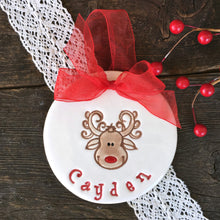 Curly Reindeer Personalized Christmas Ornament - Say Your Piece!