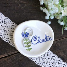 Personalized Oval Dish w/Flower
