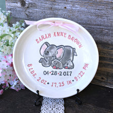 Personalized Birth Plate with Adorable Elephant - Say Your Piece!