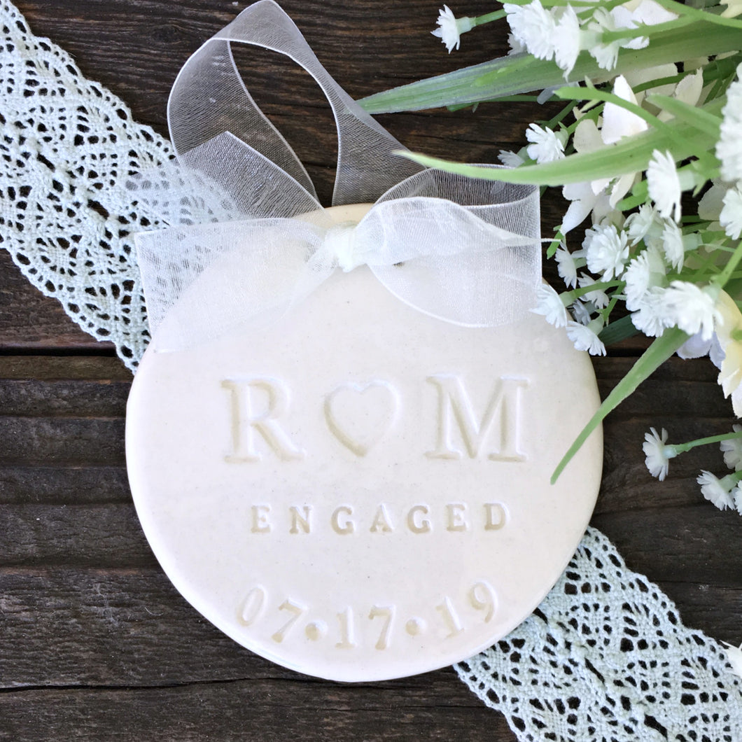 Elegant Natural White Personalized Engagement or Wedding Ornament - Say Your Piece!
