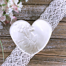 Floral Embossed Heart Shaped Ring Dish in Natural White - Say Your Piece!