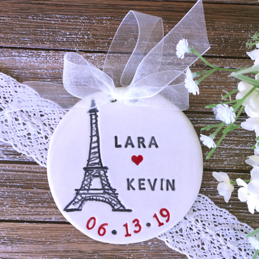 Personalized Paris Proposal Engagement Ornament / Wedding Ornament - Say Your Piece!